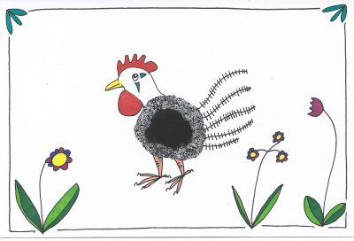 62_365.3 ink-blot chicken amongst flowers